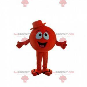 Maskotka mały okrągły czerwony człowiek w kapeluszu -