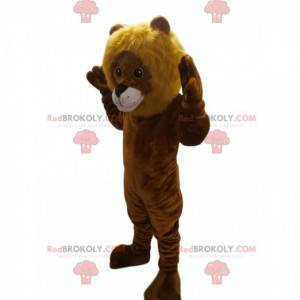 Large lion cub mascot touching - Redbrokoly.com