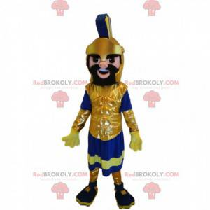 Mascote guerreiro romano com um magnífico capacete dourado -