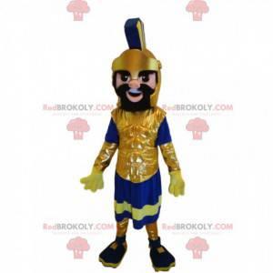 Maskot římského válečníka s nádhernou zlatou helmou -