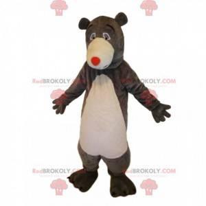 Maskot medvěd hnědý s červeným nosem. Medvěd maskot -