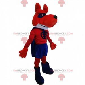 Super-herói mascote lobo vermelho e azul - Redbrokoly.com