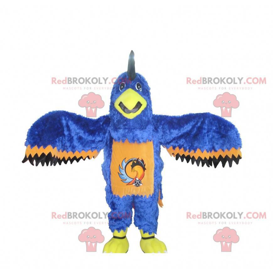 Maskottchen des blauen orange und schwarzen Adlers -
