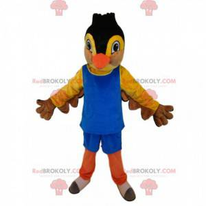 Mascot yellow and black bird, in blue sportswear -