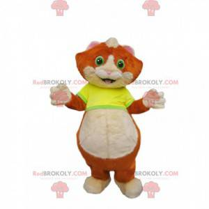 Mascot little red and white cat with a yellow jersey -