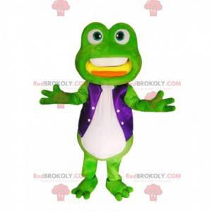 Mascotte groene kikker met een paars satijnen jasje -