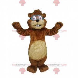 Adorável mascote castor com óculos de construção -