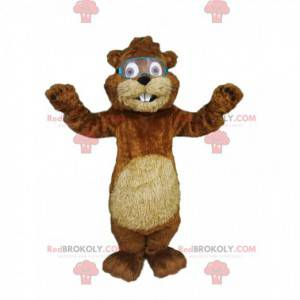 Urocza maskotka bobra w okularach budowlanych - Redbrokoly.com