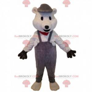 Polar bear mascot with gray overalls - Redbrokoly.com