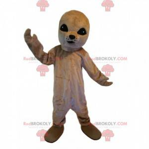 Mascotte foca grigia con grandi occhi neri - Redbrokoly.com