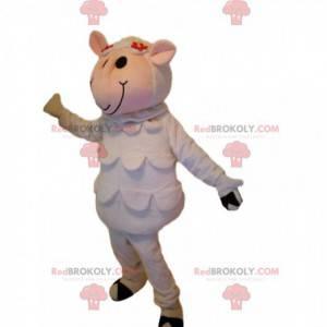 Mascotte divertente e graziosa delle pecore bianche -