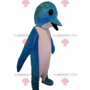 Mascota delfín azul y blanco súper divertida - Redbrokoly.com