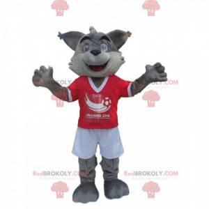 Šedý a bílý vlk maskot ve sportovním oblečení - Redbrokoly.com