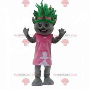 Grijze koala-mascotte met een excentriek groen kapsel -