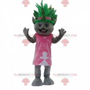 Mascote coala cinza com penteado verde excêntrico -
