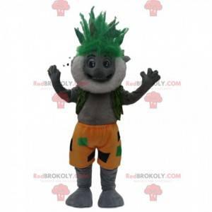 Mascote coala cinza barbudo com um penteado verde maluco -