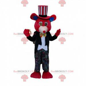 Red bear mascot with a clown outfit - Redbrokoly.com