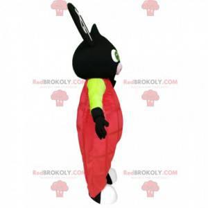 Black rabbit mascot with pink overalls - Redbrokoly.com