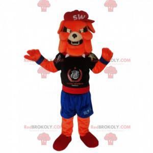 Orange Ball Hund Maskottchen in Sportbekleidung - Redbrokoly.com
