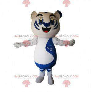 Mascot white and blue tiger with a huge smile - Redbrokoly.com