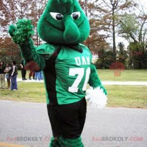 Green monster snowman mascot - Redbrokoly.com