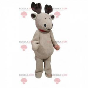 Mascote de rena bege com um sorriso encantador - Redbrokoly.com