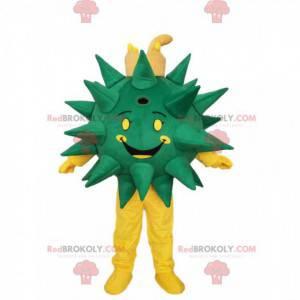Grünes und gelbes Virusmaskottchen lächelnd. Virus Kostüm -