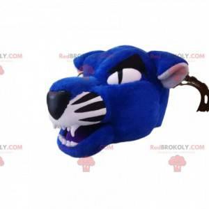 Blauw en zwart tijger mascotte hoofd - Redbrokoly.com