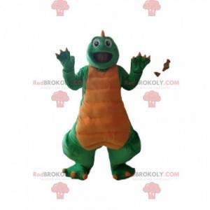 Grünes und gelbes Dinosauriermaskottchen - Redbrokoly.com