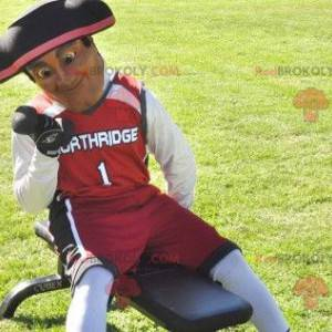 Patriot soldier mascot dressed in red black and white -