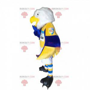 White golden eagle mascot in blue and yellow sportswear -