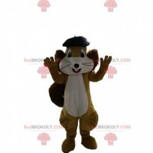 Mascote esquilo marrom e branco com uma boina preta -
