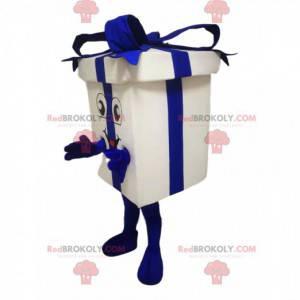 Maskot bílé a modré dárkové balení - Redbrokoly.com