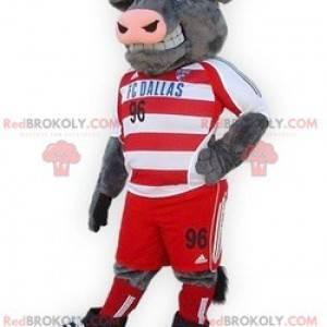 Gray bull buffalo mascot in sportswear - Redbrokoly.com