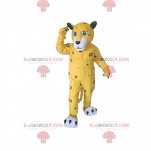 Žlutý leopard maskot s šedými skvrnami - Redbrokoly.com
