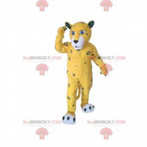 Yellow leopard mascot with gray spots - Redbrokoly.com