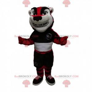Czerwony i czarny tygrys maskotka z odzieżą sportową -