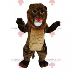 Maskot hnědého lva s nosem ve tvaru srdce - Redbrokoly.com