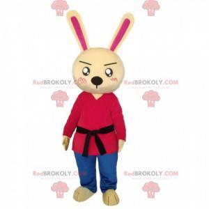 Kanin maskot med svart belte - Redbrokoly.com