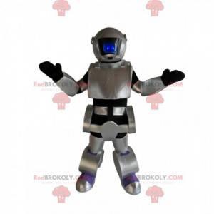 Grå og sort robot maskot. Robotdragt - Redbrokoly.com