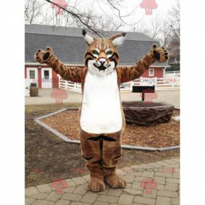 Mascot brown white and black lynx with beautiful green eyes -