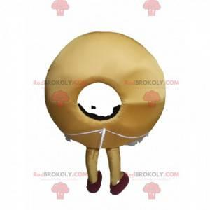 Mascota de donut con hermosa sonrisa y un delantal. -