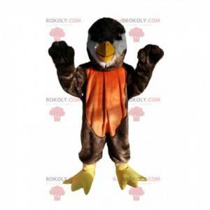 Braunes und orange Vogelmaskottchen mit einem schönen Schnabel