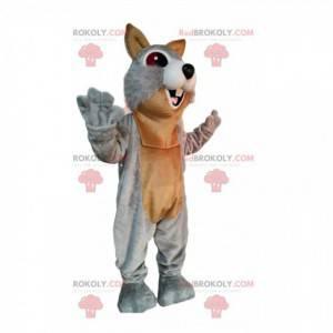 Mascote esquilo cinza e marrom muito entusiasmado -