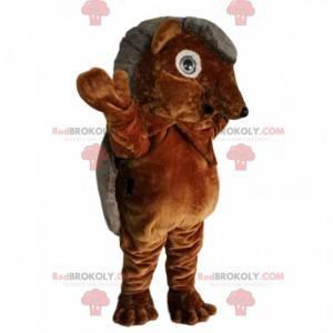 Mascote ouriço marrom e cinza. Fantasia de ouriço -