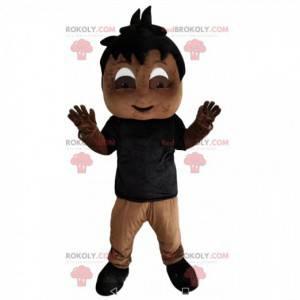 Maskot malý chlapec s černým dresem - Redbrokoly.com