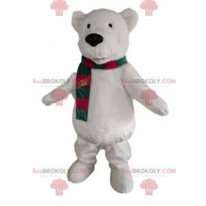 Eisbärenmaskottchen mit grünem und rotem Schal - Redbrokoly.com