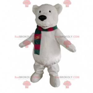 Polar bear mascot with a green and red scarf - Redbrokoly.com