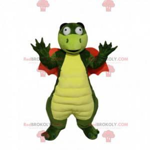 Green dragon mascot with orange wings - Redbrokoly.com