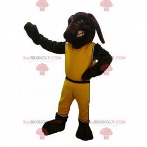 Hnědý pes maskot s žluté sportovní oblečení - Redbrokoly.com